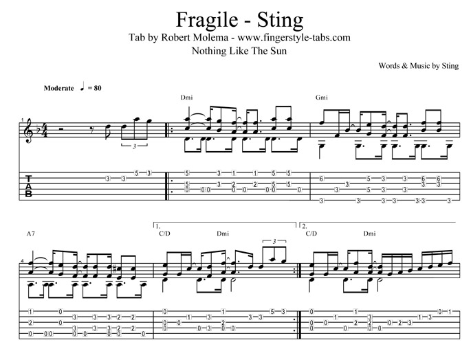 Stingray Bass Fingerstyle : quality tab for the song fragile from sting ~ Hamham.info Haus und Dekorationen